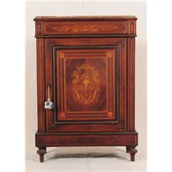 Marquetry Inlay Marble Top Cabinet