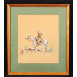 """""""Border Patrol 1914"""" Watercolor"""