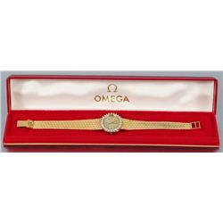Ladies 14K Yellow Gold Diamond Omega Watch