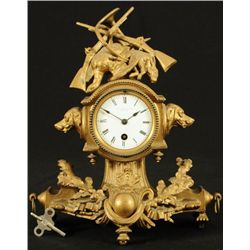 T. Steele & Son Hunting Scene Mantle Clock