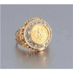Gold Mexican Peso Ring