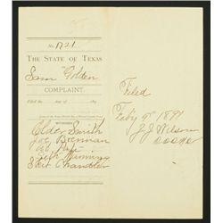 1891 Corsicana Texas Gambling Arrest Warrant