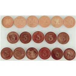 Collection of 17 Etched Clay Poker Chips