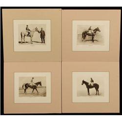 4 Vintage Race Horse & Jockey Photo Prints
