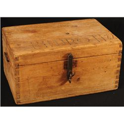 Dovetailed Wooden Trunk Carved Pedro 1922