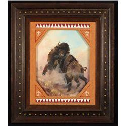 "P.B. Kime ""Battle of the Bulls"" Oil Painting"