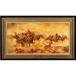 Rex Dowson Custers Last Stand Oil Painting