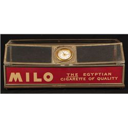 Milo Egyptian Cigarettes Glass Display with Clock