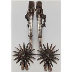 Pair of Mexican Inlayed Drop Shank Spurs