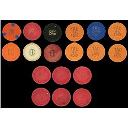 Collection of Illegal Gambling Poker Chips Texas