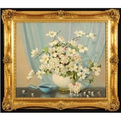 A.D. Greer Dogwood Flowers Still Life Oil Painting