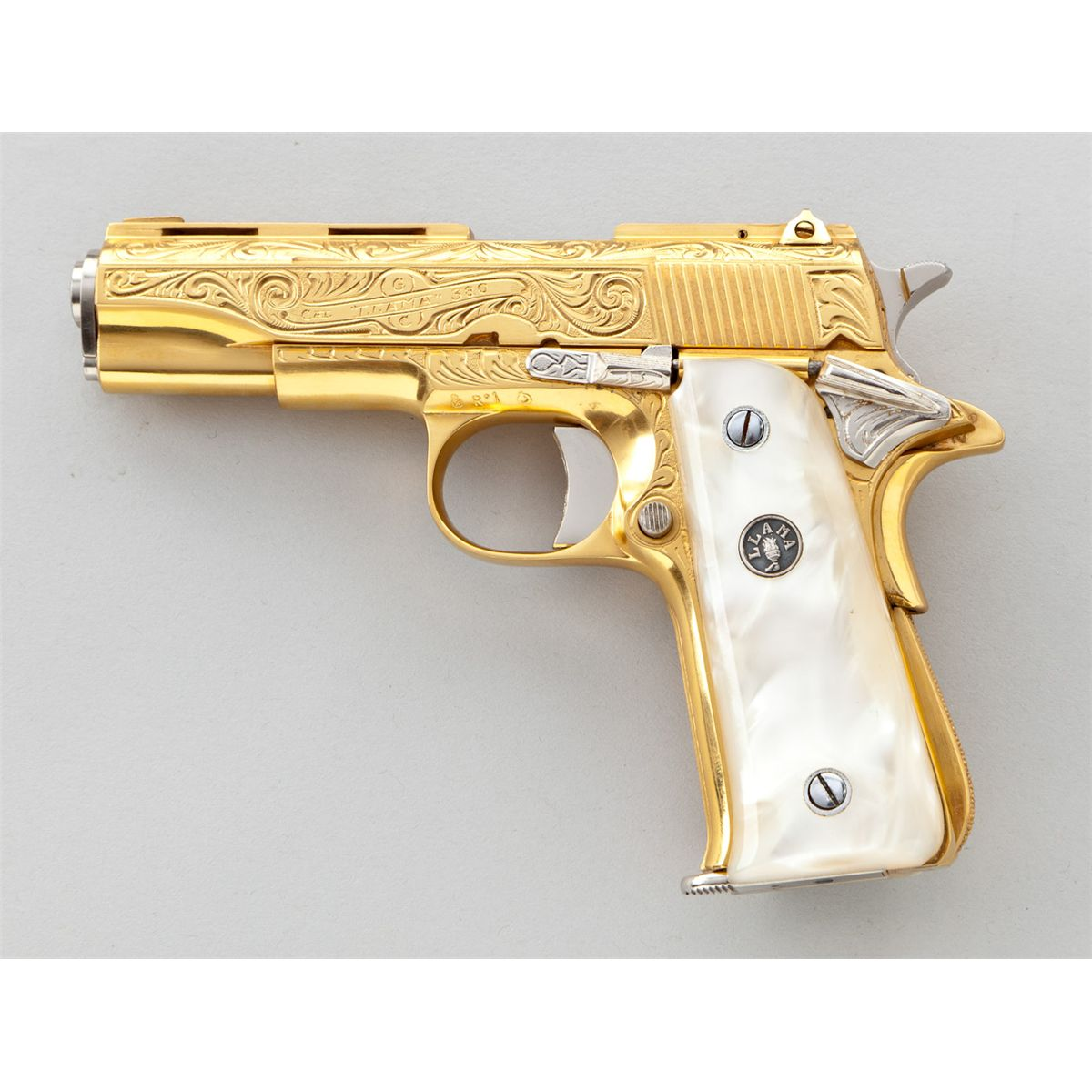 Gold Engraved Llama Small Frame Pistol