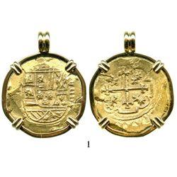 Mexico City, Mexico, cob 8 escudos, Philip V, assayer J (style of 1711-13), from the 1715 Fleet, mou