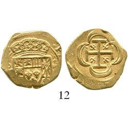 Mexico City, Mexico, cob 2 escudos, (1715J), from the 1715 Fleet. S-M30; KM-53.2; CT-351. 6.7 grams.