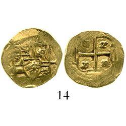 Mexico City, Mexico, cob 1 escudo, Philip V, assayer not visible (style of 1702-10). KM-51.1. 3.3 gr