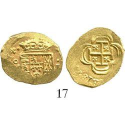 Mexico City, Mexico, cob 1 escudo, (17)14(J), from the 1715 Fleet. S-M30; KM-51.2; CT-510. 3.3 grams