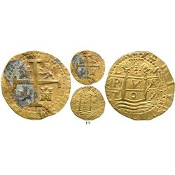Lima, Peru, cob 8 escudos, 1709M, from the 1715 Fleet. S-L28; KM-38.1; CT-20. 27.1 grams. Full but s