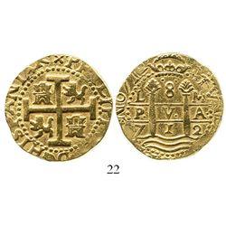 Lima, Peru, cob 8 escudos, 1712M, from the 1715 Fleet. S-L28; KM-38.2; CT-23. 26.9 grams. Choice bol