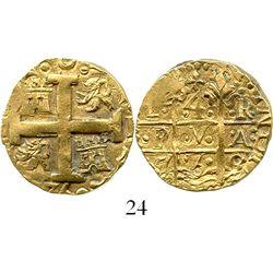 """Lima, Peru, cob 4 escudos, 1750R, denomination """"8,"""" from the Luz (1752). S-L31; KM-A47; CT-93. 13.6"""