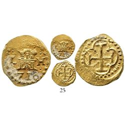 Lima, Peru, cob 1 escudo, 1710H, from the 1715 Fleet. S-L25a; KM-35; CT-unlisted. 3.4 grams. Choice