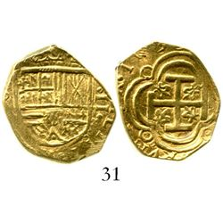 """Bogota, Colombia, cob 2 escudos, Philip IV, 1635(A), from the """"Mesuno hoard"""" (ca. 1636). S-B20; KM-4"""