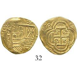 Bogota, Colombia, cob 2 escudos, (16)36A, rare. S-B20; KM-4.1; CT-158. 6.7 grams. Full shield with b