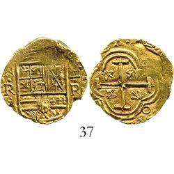 Bogota, Colombia, cob 2 escudos, Philip IV, assayer R (1650s to 1660s). S-B21; KM-4.1. 6.6 grams. Ex