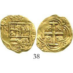 Bogota, Colombia, cob 2 escudos, Philip IV, assayer R (1650s to 1660s). S-B21; KM-4.1. 6.7 grams. Bo