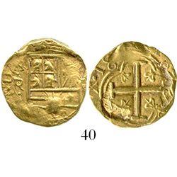 Bogota, Colombia, cob 2 escudos, Philip IV, assayer R (1650s to 1660s). S-B21; KM-4.1. 6.6 grams. Fu