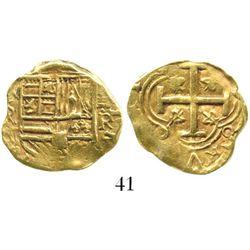 Bogota, Colombia, cob 2 escudos, Philip IV, assayer R (1650s to 1660s). S-B21; KM-4.1. 6.6 grams. Bo