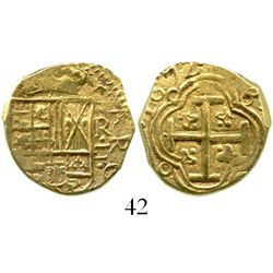 Bogota, Colombia, cob 2 escudos, 1672R, very rare with full and bold date. S-B21a; KM-14.1; CT-144.