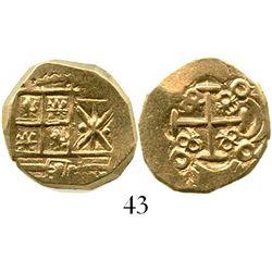 Bogota, Colombia, cob 2 escudos, Charles II, no assayer (1690s). S-B24; KM-14.2. 6.8 grams. Choice f