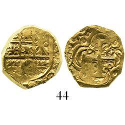 Bogota, Colombia, cob 2 escudos, 1704/3, rare. S-B24; KM-unlisted; CT-unlisted. 6.8 grams. Small fla