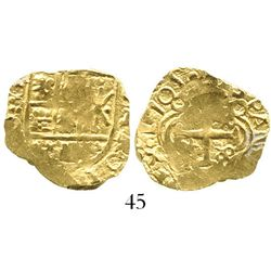Bogota, Colombia, cob 2 escudos, 1705 (full date), from the 1715 Fleet. S-B24; KM-14.2; CT-8. 6.7 gr