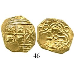 Bogota, Colombia, cob 2 escudos, 1708(?), from the 1715 Fleet. S-B24; KM-14.2; CT-11. 6.9 grams. Lus