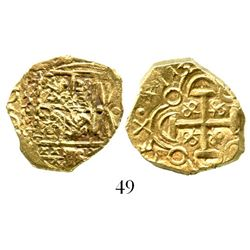 "Bogota, Colombia, cob 2 escudos, 1713, from the 1715 Fleet, ex-Tampa sale, pedigreed to the Bob ""Fro"