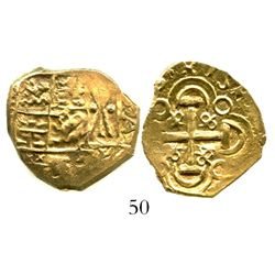 """Bogota, Colombia, cob 2 escudos, (171)3, from the 1715 Fleet, ex-Tampa sale, pedigreed to the Bob """"F"""