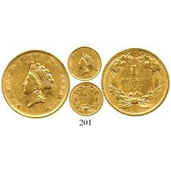 USA (Philadelphia mint), $1 Indian Princess (Type 2 gold dollar), 1855. KM-83. 1.7 grams. Decent XF
