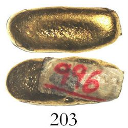 """Small gold """"drop"""", 20.5 grams, from the Espadarte (1558).  1"""" long, 13/32"""" in diameter. Cute but sub"""