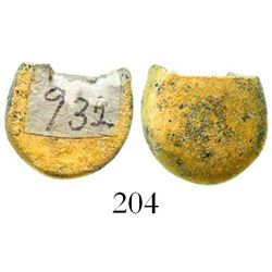 """Small gold """"drop"""" with cut edge, 7.1 grams, from the Espadarte (1558).  19/32"""" in diameter and 3/16"""""""