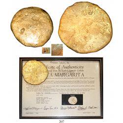 Flat gold disk (contraband), 578 grams, 12K-15K (estimated), from the Santa Margarita (1622).