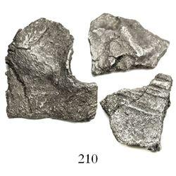 """Lot of 3 silver coin-like """"plata corriente"""" pieces cut from """"splash"""" ingots (no markings, fineness u"""