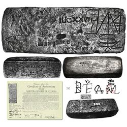Large Potosi silver ingot, 90 lb 7.36 oz troy, Class Factor 0.9 (should be 1.0), dated 1622, from th