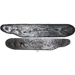 """Flat silver """"strap"""" ingot, 329.3 grams, for making 8R cob blanks, extremely rare, from the 1715 Flee"""