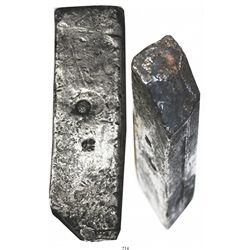 Neatly formed silver ingot, 1957 grams, about 98.5% fine, with stamps of the Zeeland chamber of the