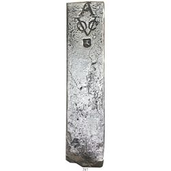 Neatly formed silver ingot, 1960 grams, about 98.5% fine, with stamps of the Amsterdam chamber of th