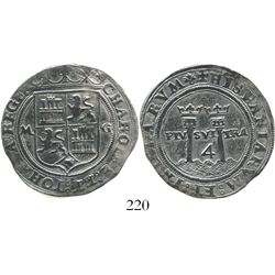 """Mexico City, Mexico, 4 reales, Charles-Joanna, """"Late Series,"""" M to left, G to right, king's name as"""