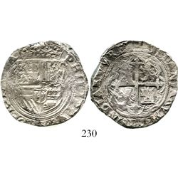 Mexico City, Mexico, cob 4 reales, Philip II, assayer not visible. KM-36. 12.6 grams. Full shield an
