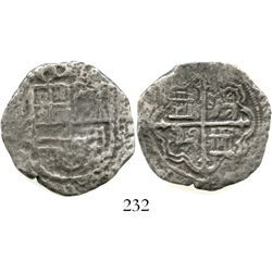 Mexico City, Mexico, cob 4 reales, Philip II or III, assayer not visible (F).  8.9 grams. Full and b