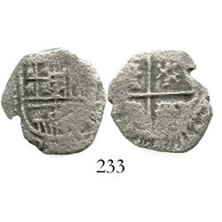 Spain (mint uncertain), cob 2 reales, Philip III.  3.4 grams. Nearly full shield and cross but littl